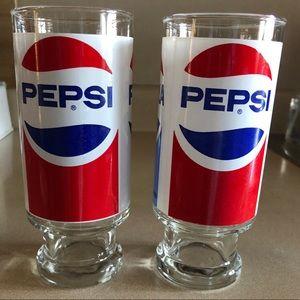 Vintage Tall Pepsi Glasses 2 pc. Set